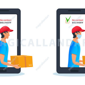 Safe contactless parcel delivery via smartphone, mobile application. Courier holding cardboard box in protective mask and medical rubber gloves