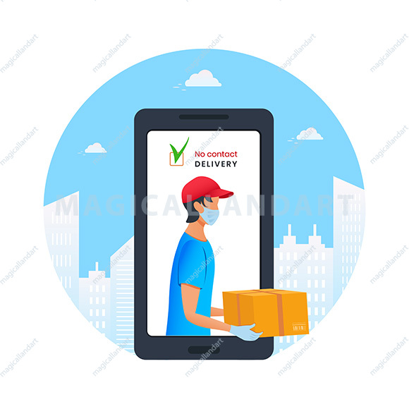 Contactless delivery to home via mobile app. E-commerce concept. Young courier holding cardboard box in protective mask and medical rubber gloves