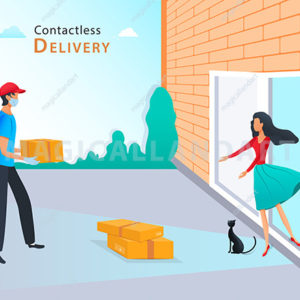 Contactless delivery service, courier in protective mask and medical rubber gloves delivering parcel box to home, contactless delivery during pandemic covid-19
