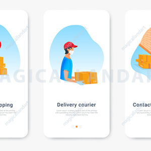 Safe contactless delivery order shipping onboarding screens template for mobile app. Courier in protective mask and medical rubber gloves