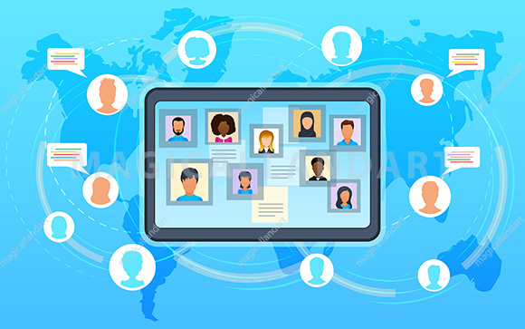 Vector concept of video conference, workshop training courses. Business team at online meeting work form home. Conference video call with clients