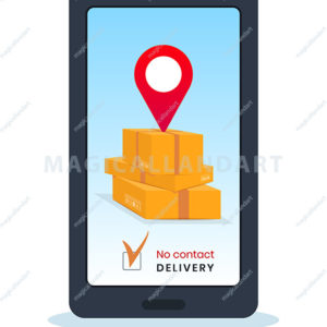 Order safe contactless delivery service via mobile app or website. Online order tracking using smartphone. Safe delivery to home