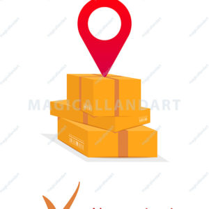 Contactless or no contact delivery service, stack of cardboard boxes, logistics, relocation, distribution, online order tracking, flat vector icon. Clip art