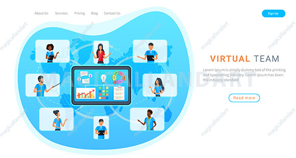 Virtual team having online meeting with clients, working from home. Business people on laptop screen talk to each other in video call.