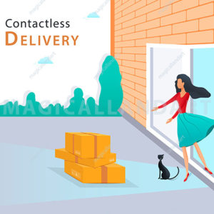 Safe contactless delivery concept. Woman pick up parcel box at the door in front of her house. Non-contact fast delivery service during coronavirus pandemic lockdown. Flat vector illustration