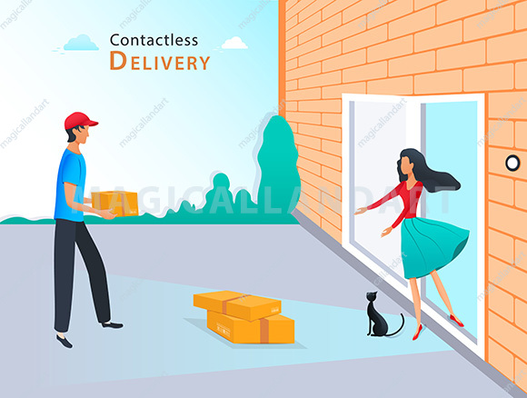 Contactless delivery to home concept. Courier with parcel box and woman near the door with safe distance to protect during coronavirus pandemic
