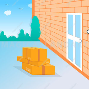 Vector illustration of contactless delivery. Delivered package and parcel boxes stands in front of the door. Quarantine, no-contact delivery during coronavirus