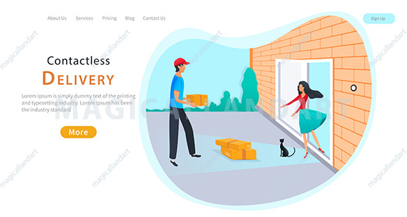 Contactless delivery landing concept. Courier with parcel box near the door with safe distance to protect during coronavirus pandemic. Safe delivery service