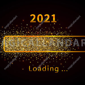 2020 New Year with bright shiny loading progress bar, golden glitter and sparkles. Template design for holiday web banner, poster, greeting card