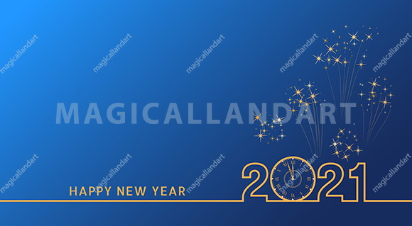 2021 Happy New Year text design with golden numbers and vintage clock on blue background with fireworks. Holiday banner, poster, greeting card