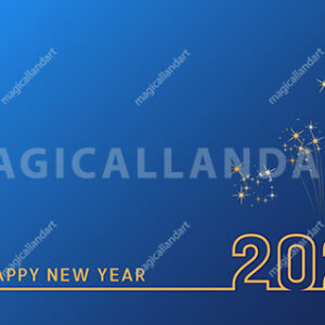 2021 Happy New Year text design with golden numbers on blue background with fireworks. Holiday banner, poster, greeting card or invitation template