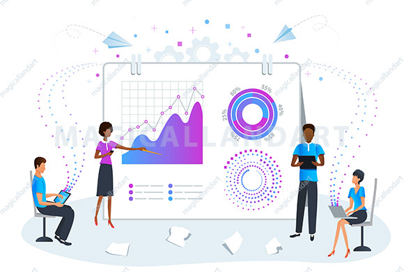 Big data analysis and analytics concept. Predictive data analysis for business strategy performance. Business team on meeting