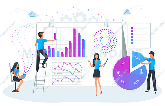 Big data analysis and management vector illustration. Business plan, strategy and data analysis. Financial accounting and consulting
