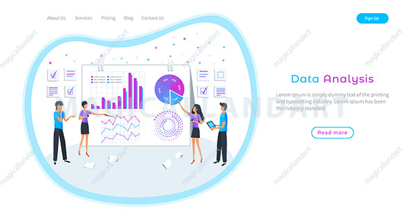 Digital data analysis banner. Big data analysis, analytics and visualization. Business team studying infographic and analyzing information.