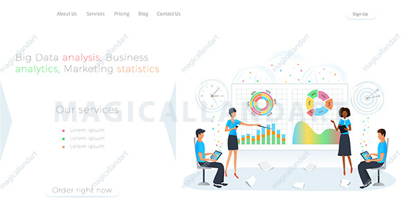Big data analysis, business analytics, marketing research and statistics. Team of people analyzing the infographic with charts