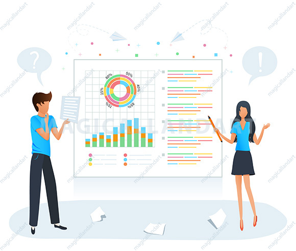 Digital data analysis concept. Market research, financial data analysis, project planning management. Business team makes a presentation in office