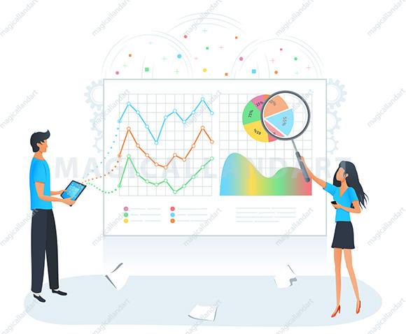 Big data analysis and management vector concept. Business people analyzing data graphs charts. Businesswoman analyzing analytics of company information